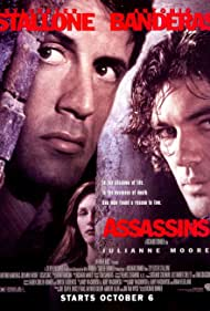 Antonio Banderas, Julianne Moore, and Sylvester Stallone in Assassins (1995)