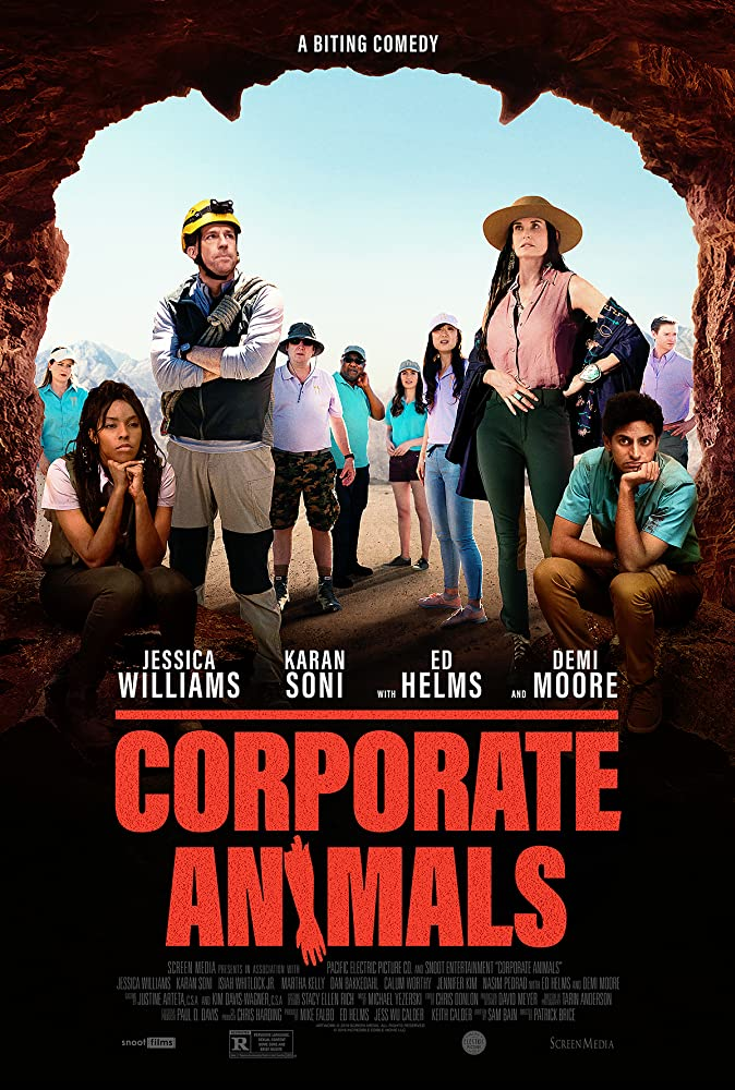 Demi Moore, Ed Helms, Jessica Williams, and Karan Soni in Corporate Animals (2019)