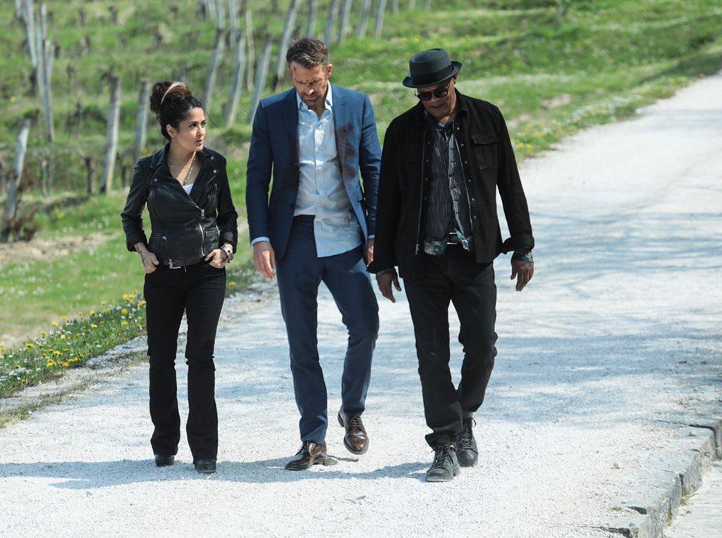 Salma Hayek, Samuel L. Jackson, and Ryan Reynolds in The Hitman's Wife's Bodyguard (2021)