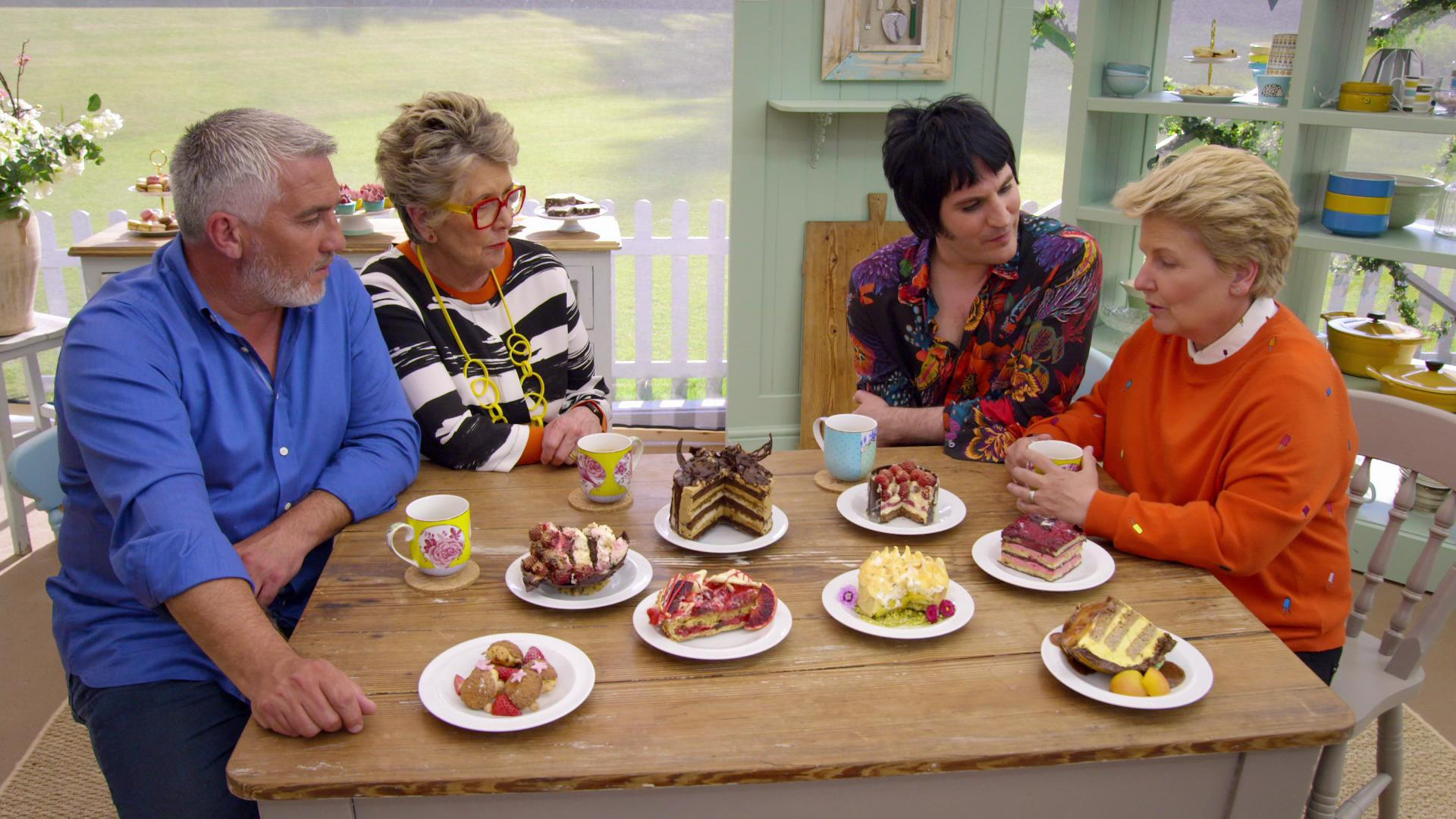 Noel Fielding, Sandi Toksvig, Prue Leith, and Paul Hollywood in The Great British Bake Off (2010)