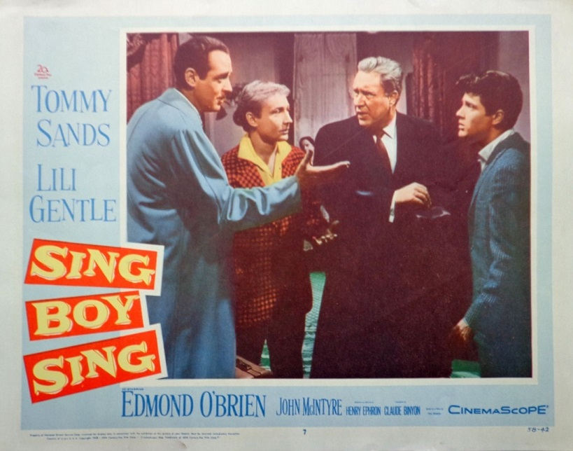 Nick Adams, Edmond O'Brien, and Tommy Sands in Sing Boy Sing (1958)