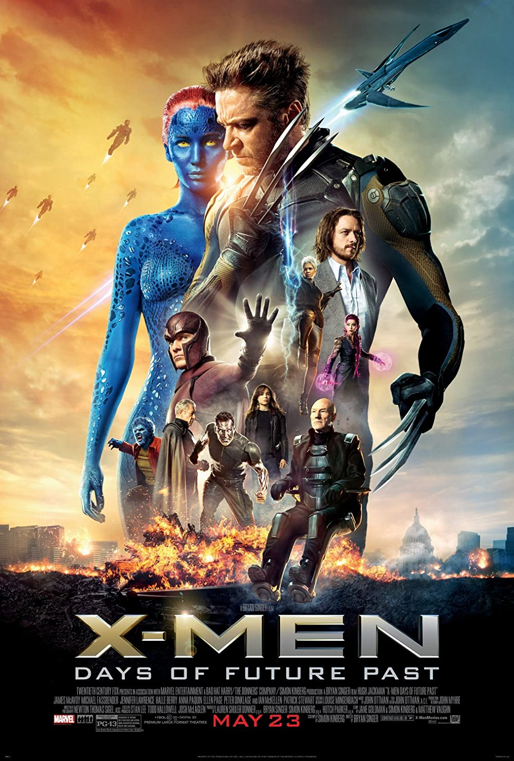 X-Men Days Of Future Past 2014 Hindi Dual Audio 720p BluRay ESubs 960MB Download