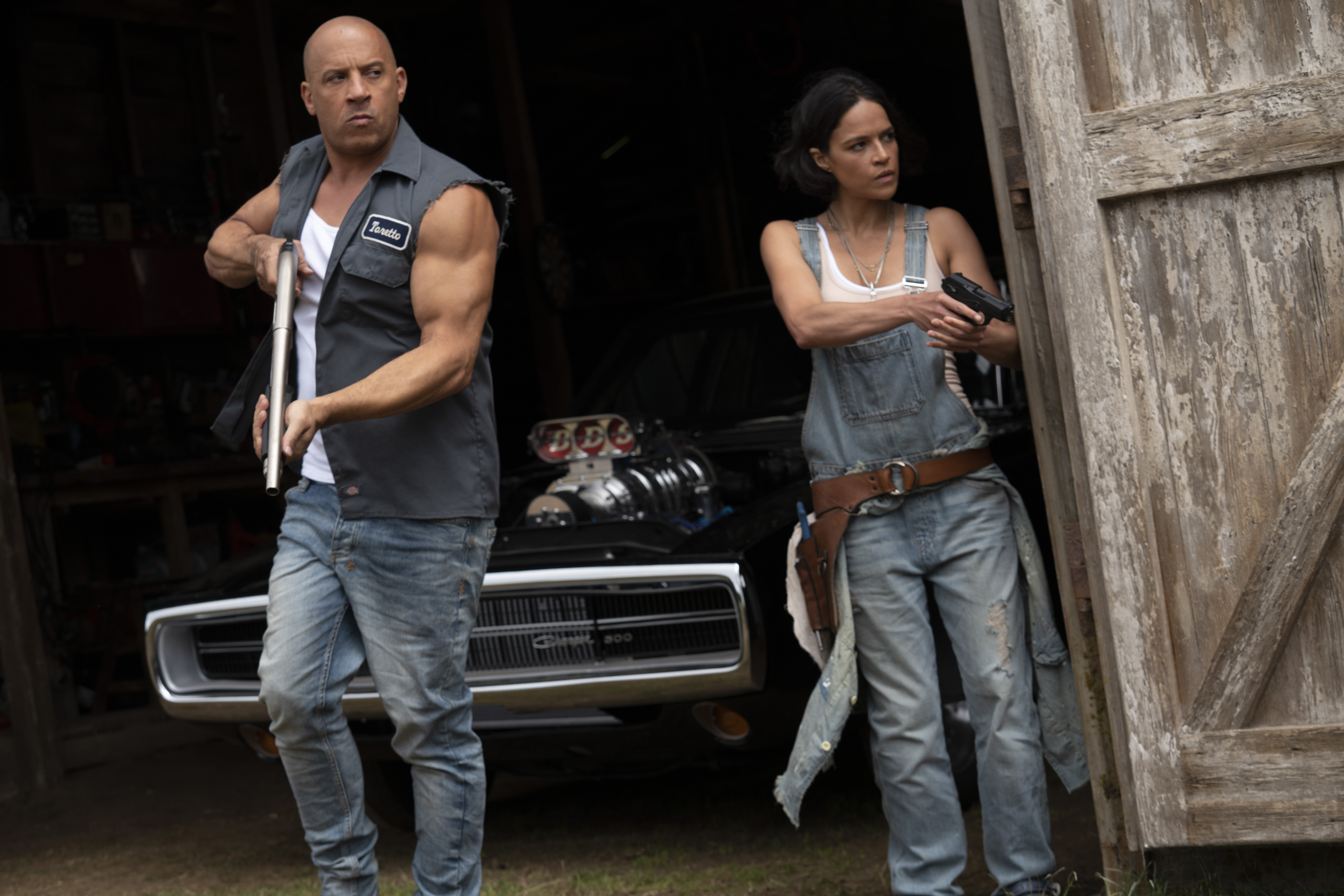 Vin Diesel and Michelle Rodriguez in F9 (2021)