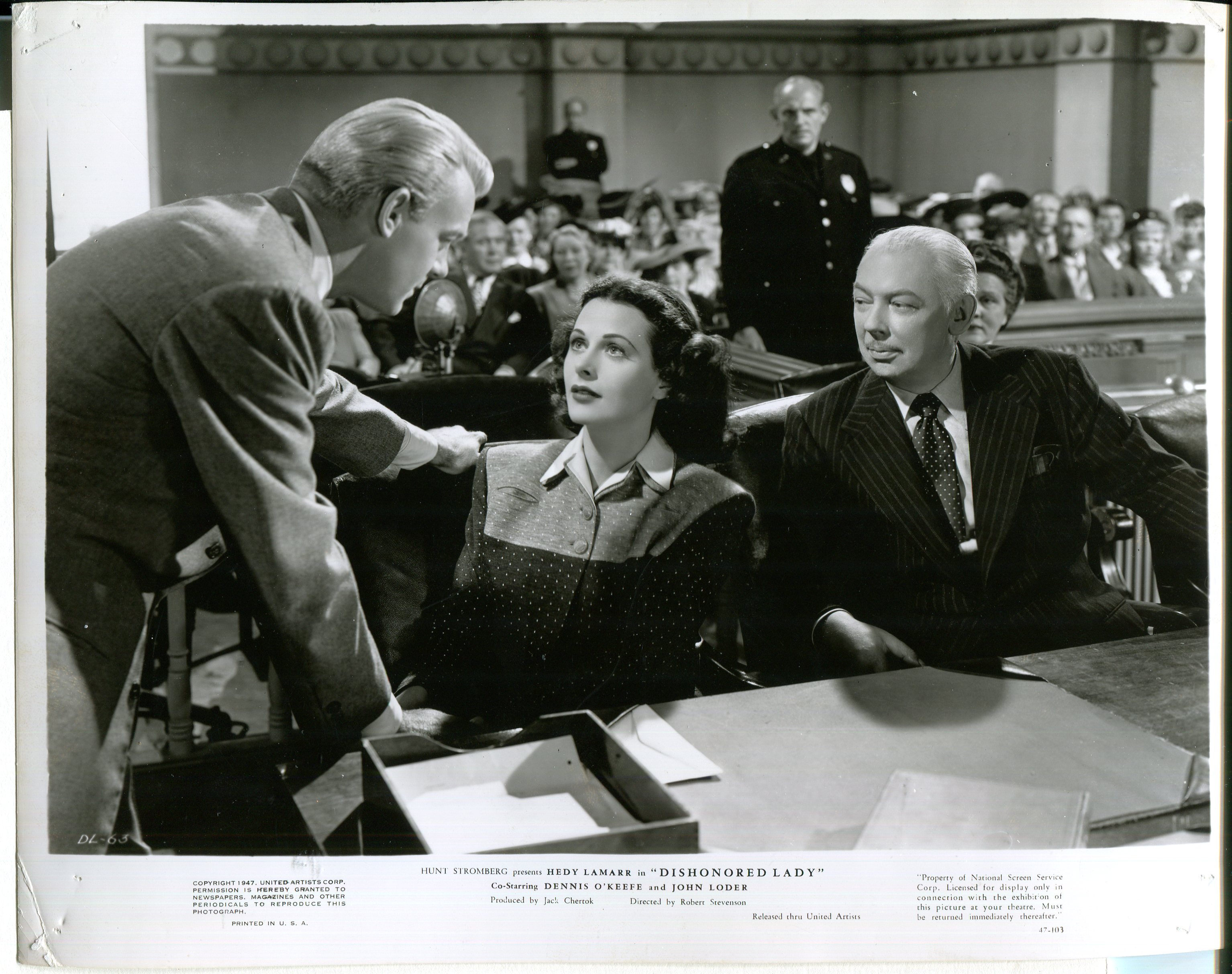 Hedy Lamarr, Nicholas Joy, and Dennis O'Keefe in Dishonored Lady (1947)