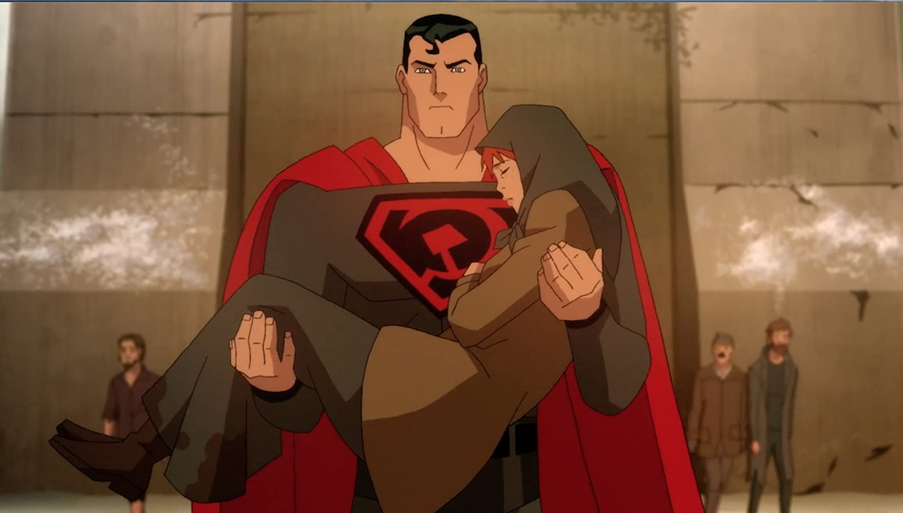 Jason Isaacs and Winter Ave Zoli in Superman: Red Son (2020)