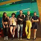 Creator Diego Martínez Ulanosky with the cast, Coty Camacho, Lucía Uribe, Tessa Ia and Bárbara López