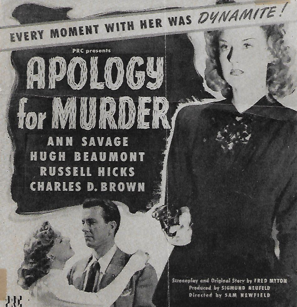 Hugh Beaumont and Ann Savage in Apology for Murder (1945)