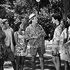 Elizabeth Berkley, Mark-Paul Gosselaar, Tiffani Thiessen, Dustin Diamond, Dean Jones, Mario Lopez, and Lark Voorhies in Saved by the Bell: Hawaiian Style (1992)