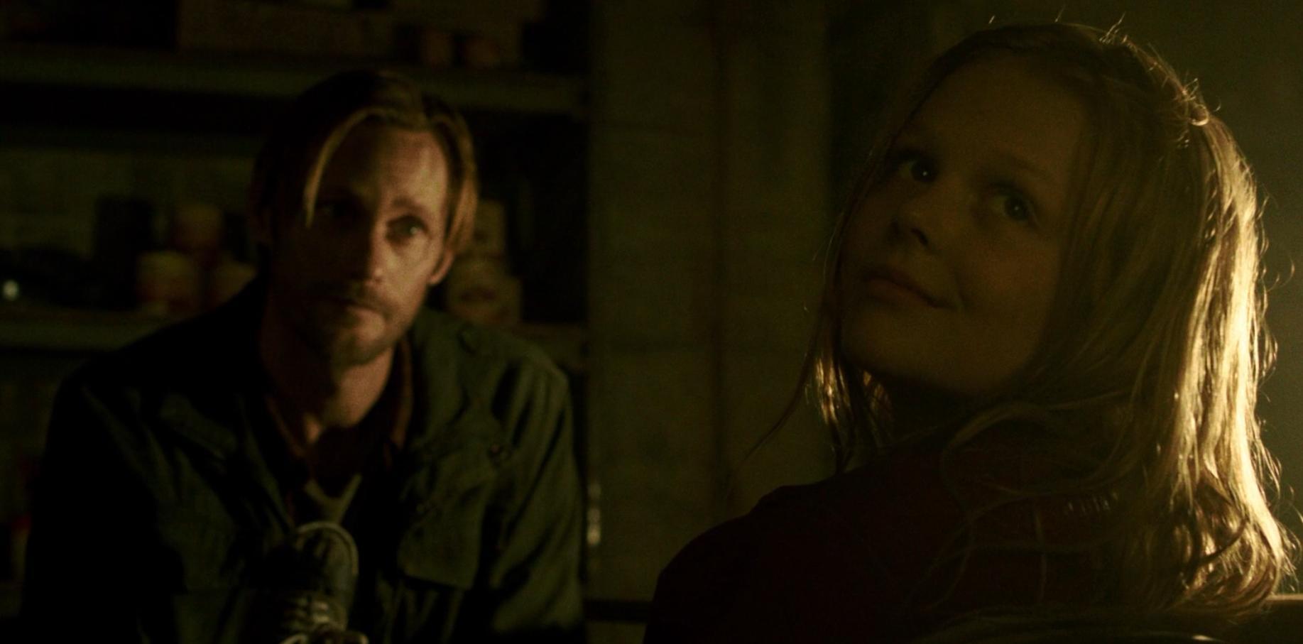 Alexander Skarsgård and Emily Alyn Lind in Hidden (2015)