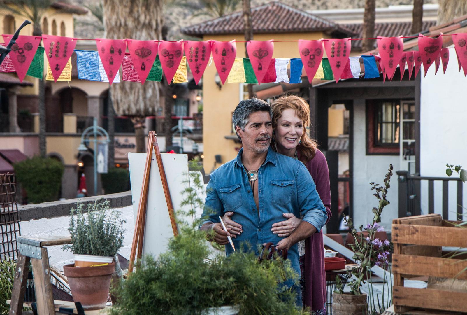 Esai Morales and Jean Smart in Senior Moment (2021)