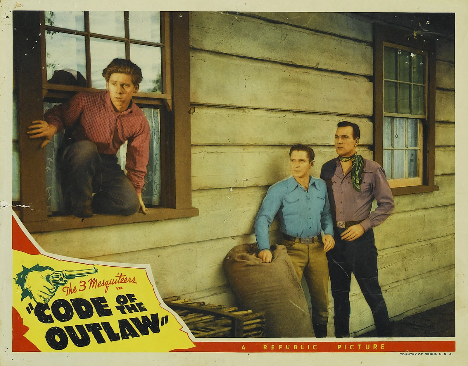 Benny Bartlett, Bob Steele, and Tom Tyler in Code of the Outlaw (1942)