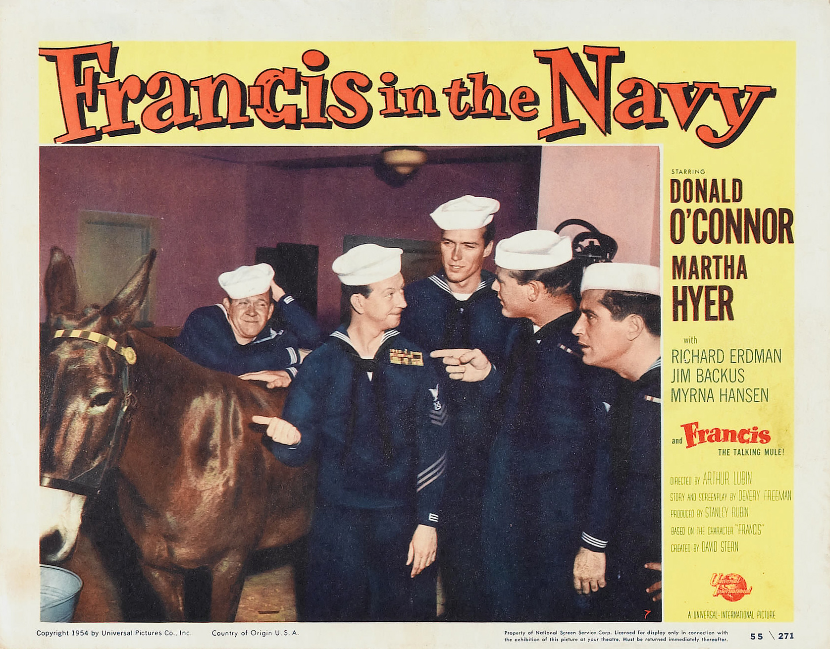 Clint Eastwood, Richard Erdman, Martin Milner, Donald O'Connor, and Molly in Francis in the Navy (1955)