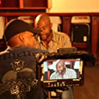 """Producer Andre Gordon with host Jerry Rice on the set of """"Going Pro"""""""
