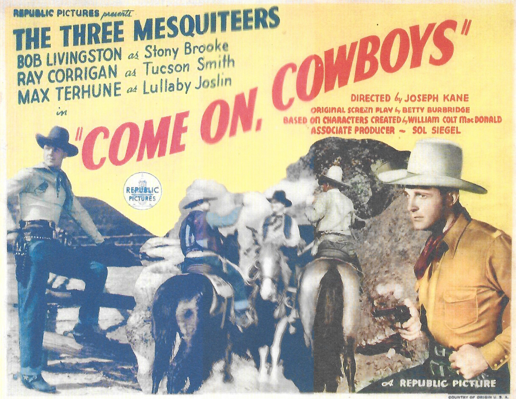 Ray Corrigan, Robert Livingston, and Max Terhune in Come on, Cowboys (1937)