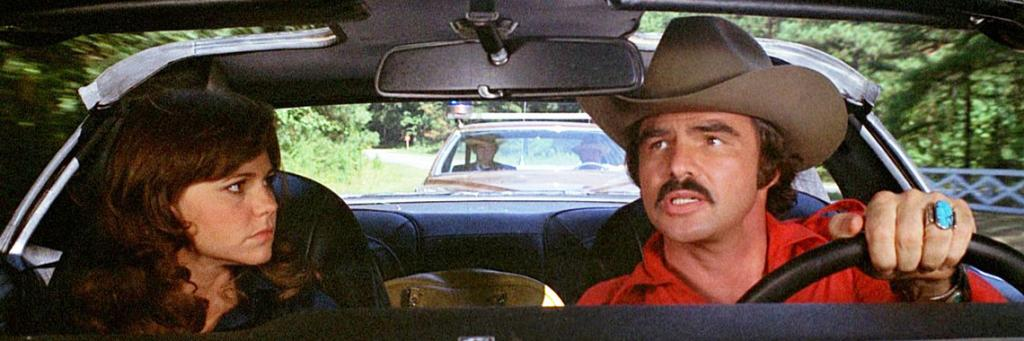 Sally Field, Burt Reynolds, Jackie Gleason, and Mike Henry in Smokey and the Bandit (1977)
