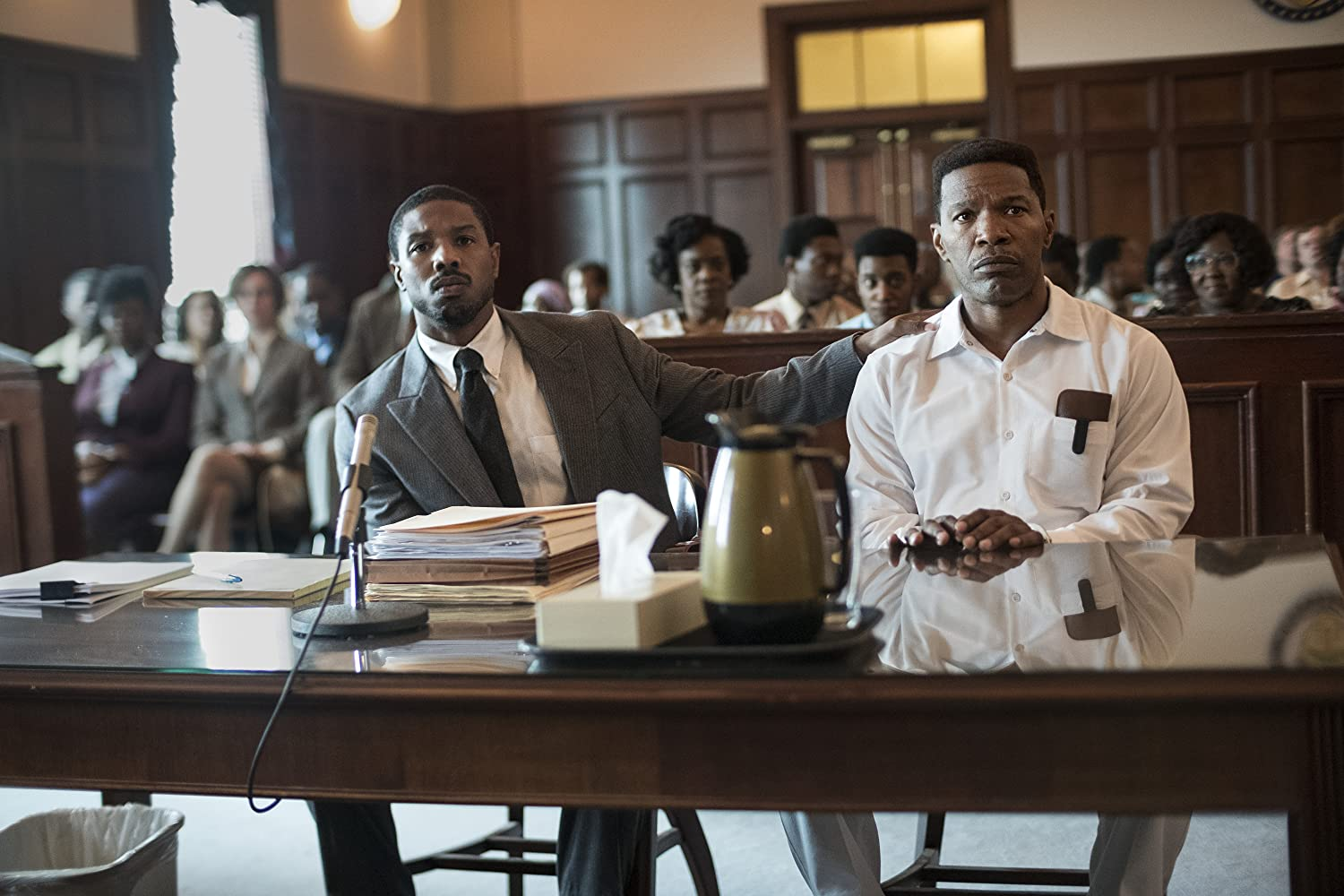 Jamie Foxx, Michael B. Jordan, and Rob Morgan in Just Mercy (2019)
