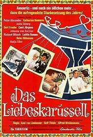 Catherine Deneuve, Anita Ekberg, Gert Fröbe, Heinz Rühmann, Peter Alexander, Curd Jürgens, Letícia Román, Rolf Thiele, and Nadja Tiller in Das Liebeskarussell (1965)