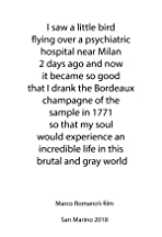 I Saw a Little Bird Flying Over a Psychiatric Hospital Near Milan 2 Days Ago and Now it Became So Good that I Drank the Bordeaux Champagne of the Sample in 1771 So That My Soul Would Experience an Incredible Life in This Brutal and Gray World