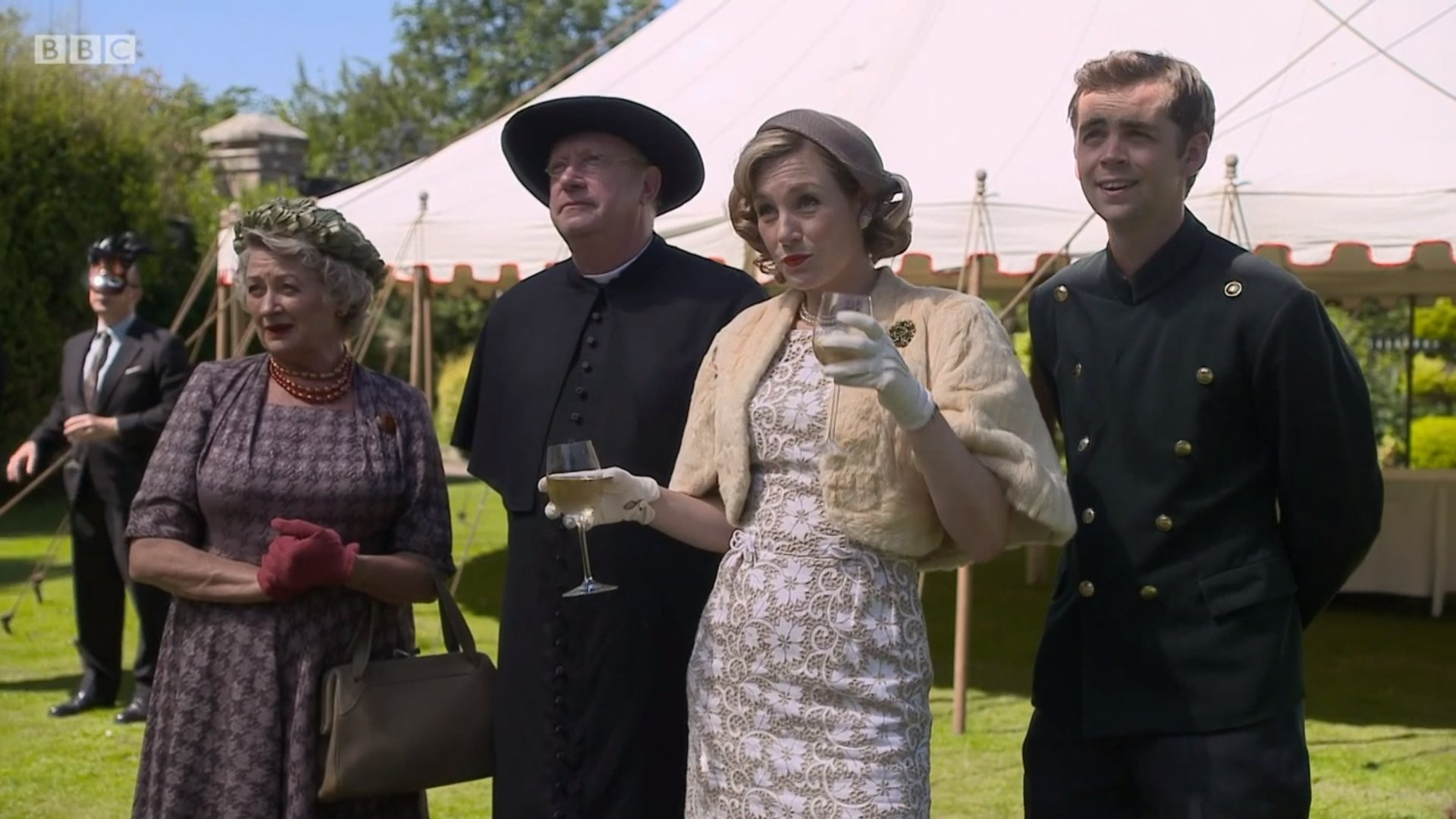 Nancy Carroll, Sorcha Cusack, Mark Williams, and Alex Price in Father Brown (2013)
