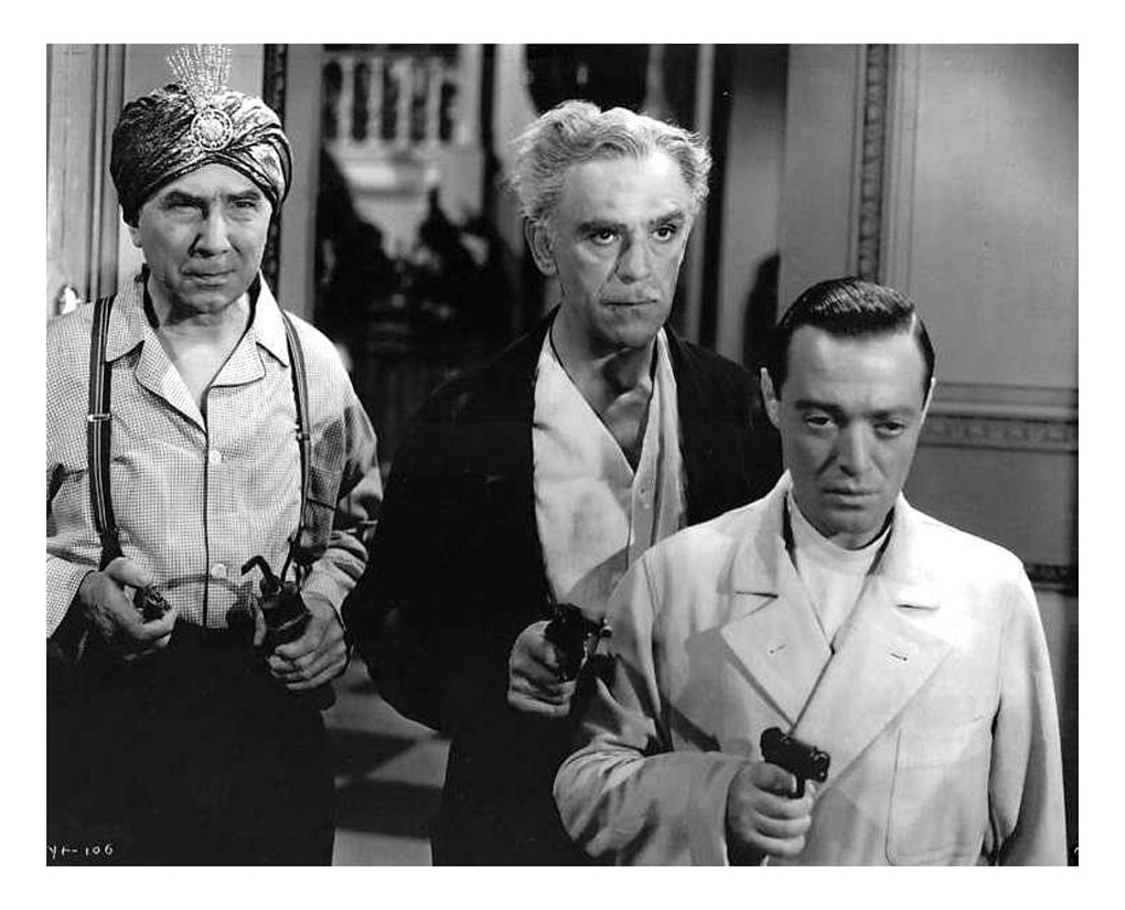 Peter Lorre, Boris Karloff, and Bela Lugosi in You'll Find Out (1940)