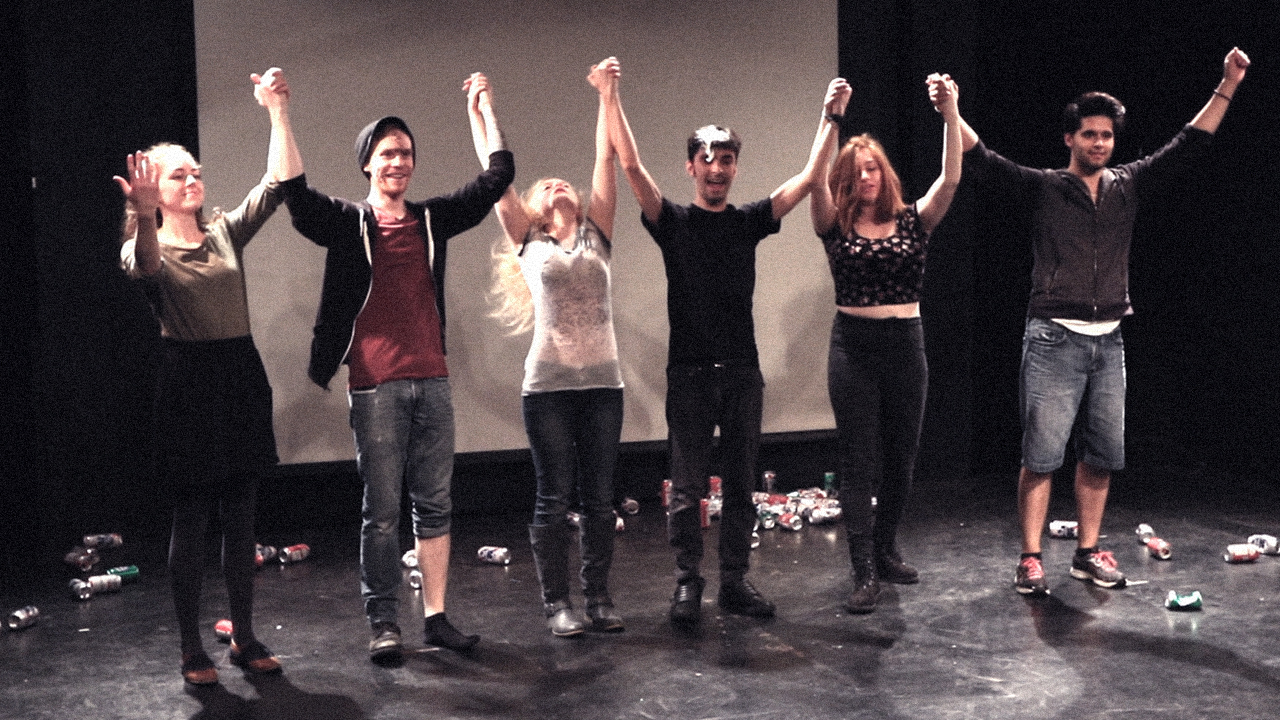 Eric Striffler, Paul Gabriellini, Lee Becker, Jesse Roth, Samantha Moyer, and Samantha Nugent in Pity Applause (2016)