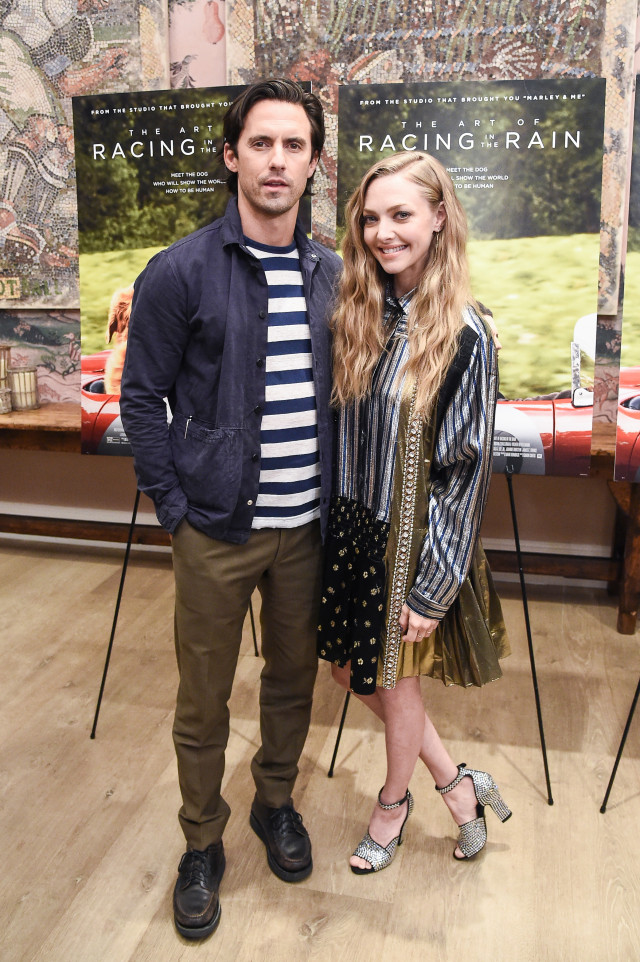 Milo Ventimiglia and Amanda Seyfried at an event for The Art of Racing in the Rain (2019)