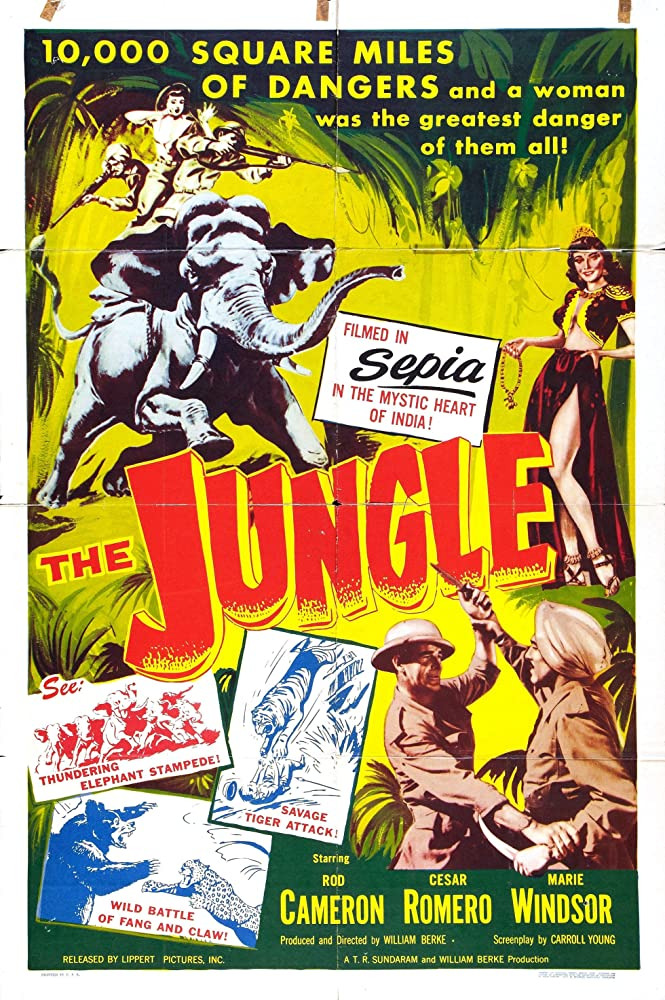 Cesar Romero, Rod Cameron, and Marie Windsor in The Jungle (1952)
