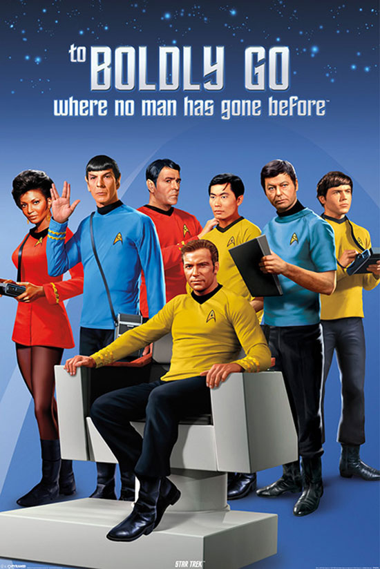 Walter Koenig, Leonard Nimoy, William Shatner, James Doohan, DeForest Kelley, George Takei, and Nichelle Nichols in Star Trek (1966)