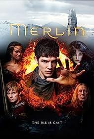 Richard Wilson, Angel Coulby, Katie McGrath, Colin Morgan, and Bradley James in Merlin (2008)