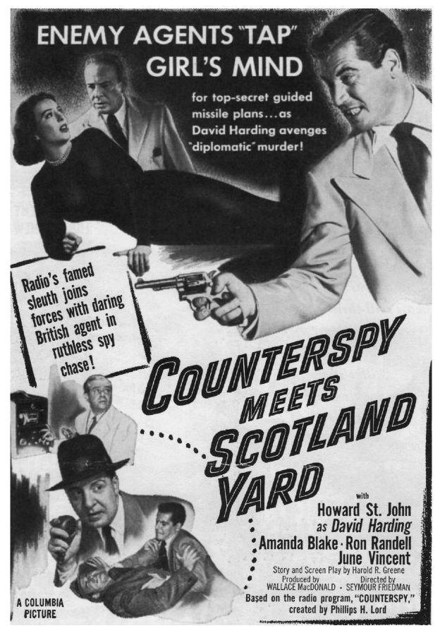 Amanda Blake, John Dehner, Lewis Martin, Ron Randell, and Howard St. John in Counterspy Meets Scotland Yard (1950)