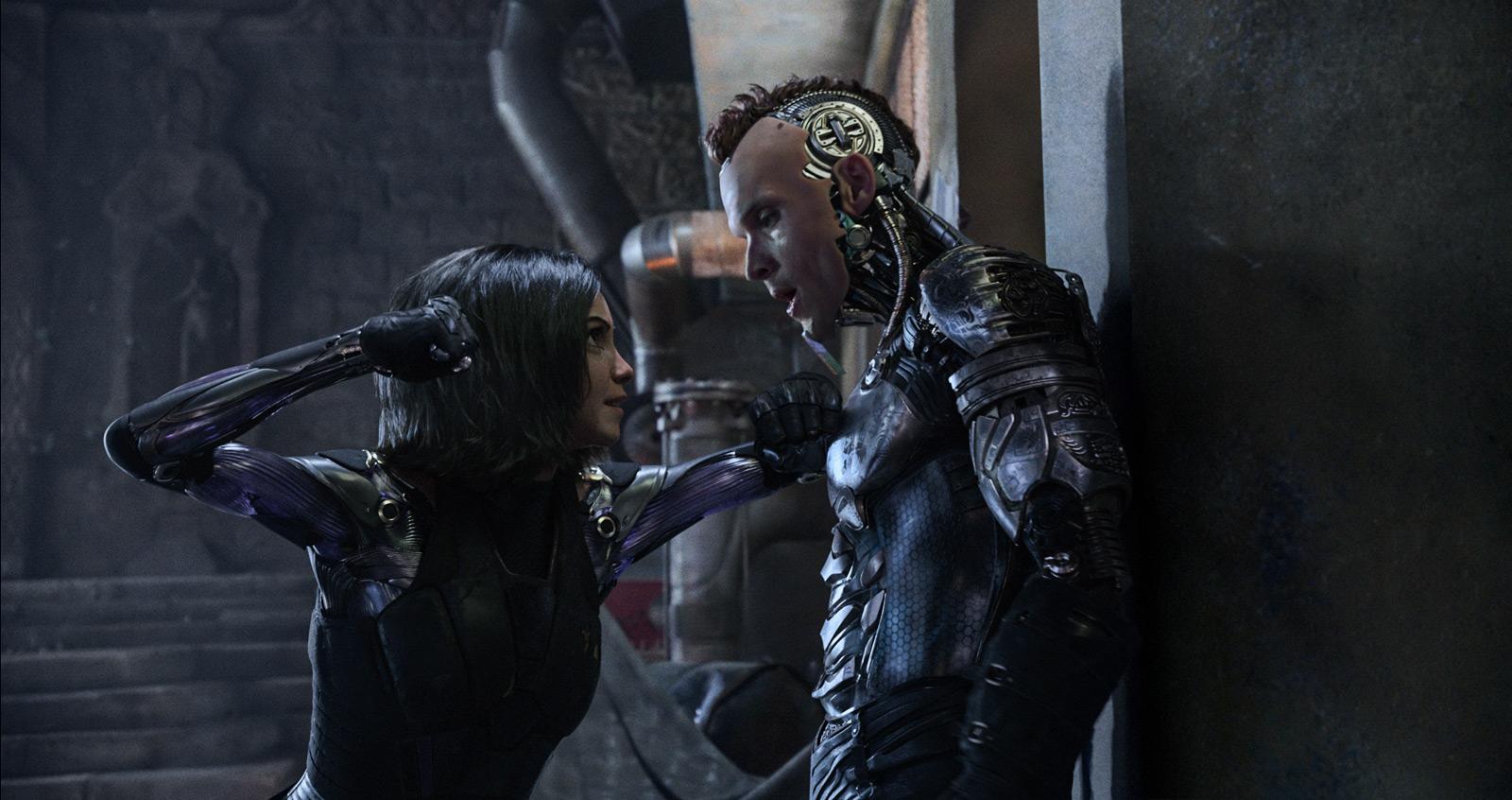 Rosa Salazar and Ed Skrein in Alita: Battle Angel (2019)