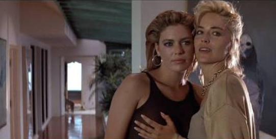Sharon Stone and Leilani Sarelle in Basic Instinct (1992)