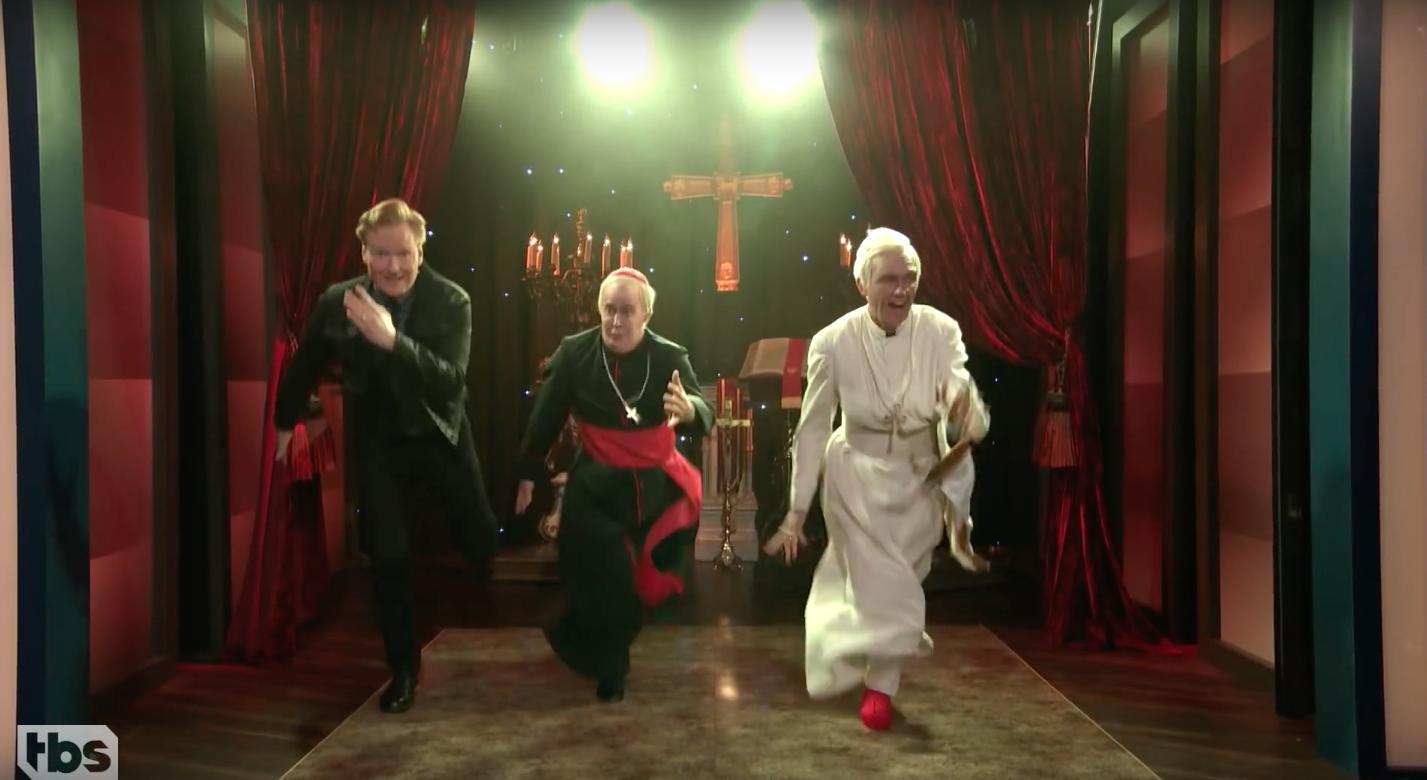Conan dancing with The Two Popes