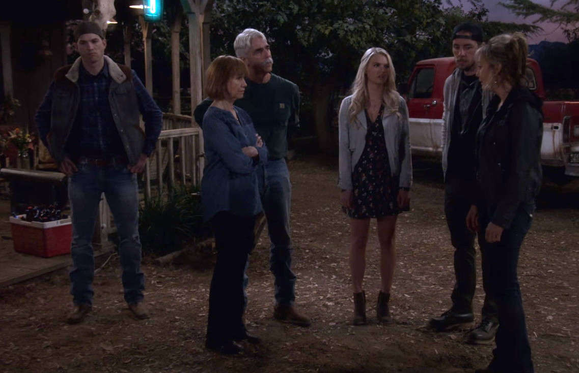 Sam Elliott, Kathy Baker, Ashton Kutcher, Megyn Price, Dax Shepard, and Kelli Goss in The Ranch (2016)