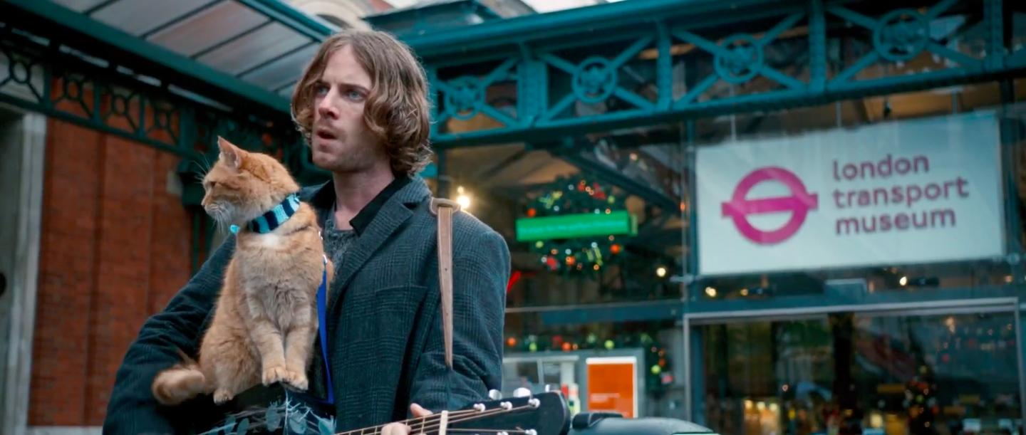 Luke Treadaway and Bob the Cat in A Street Cat Named Bob (2016)