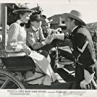 Robert Mitchum, Judith Anderson, John Rodney, and Teresa Wright in Pursued (1947)