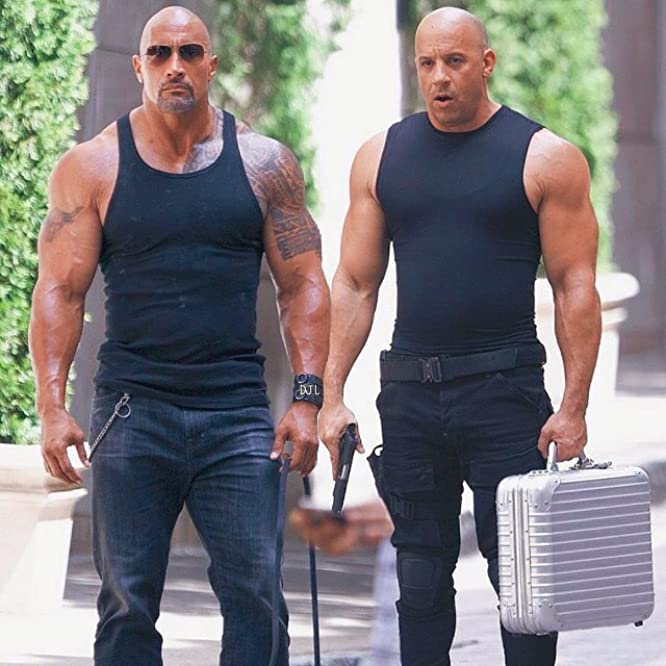 Vin Diesel and Dwayne Johnson in The Fate of the Furious (2017)