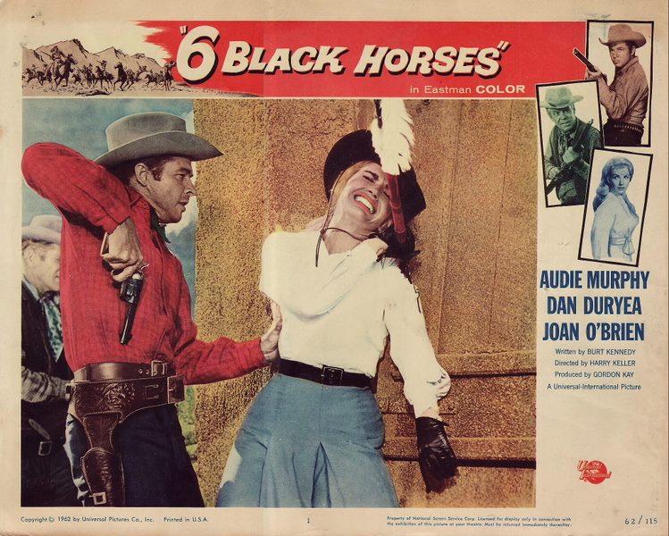 Audie Murphy, Dan Duryea, and Joan O'Brien in Six Black Horses (1962)
