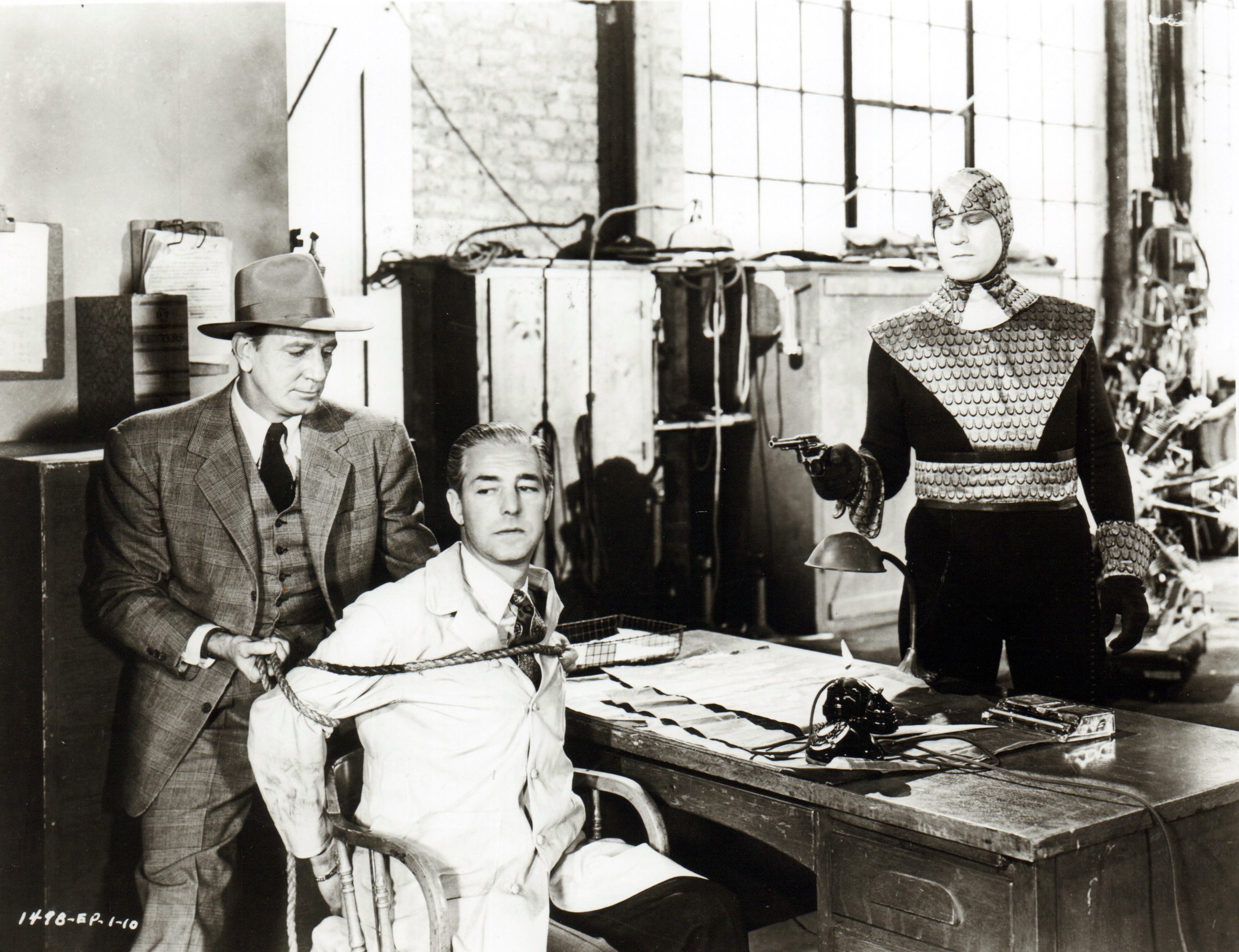 Roy Barcroft, Kenne Duncan, and Bud Geary in The Purple Monster Strikes (1945)