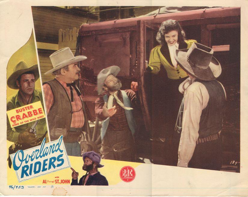 Buster Crabbe, Patti McCarty, Bud Osborne, Al St. John, and Slim Whitaker in Overland Riders (1946)