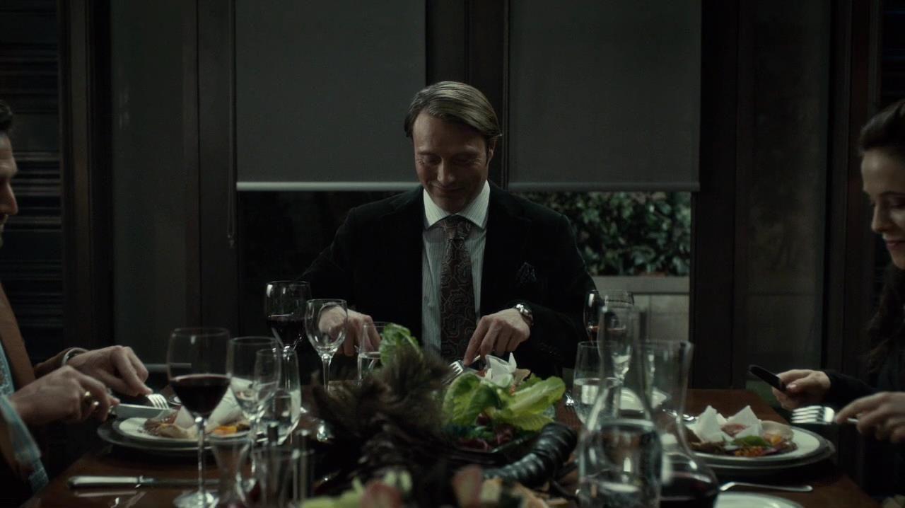 Caroline Dhavernas, Mads Mikkelsen, and Raúl Esparza in Hannibal (2013)