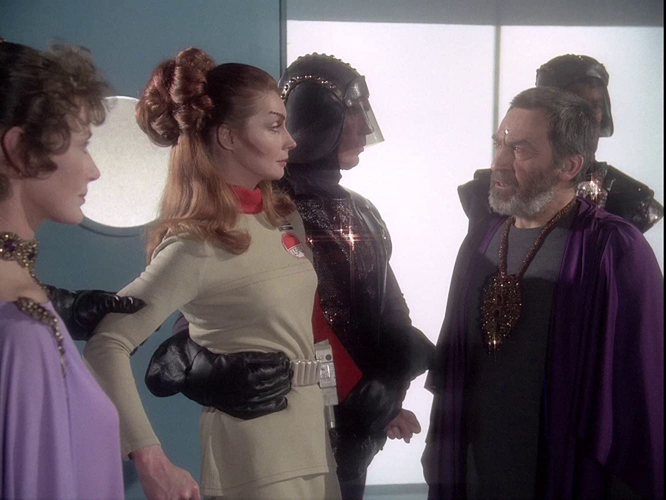 Ann Firbank, Catherine Schell, and Patrick Troughton in Space: 1999 (1975)