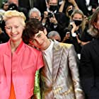 Wes Anderson, Tilda Swinton, and Timothée Chalamet at an event for The French Dispatch (2021)