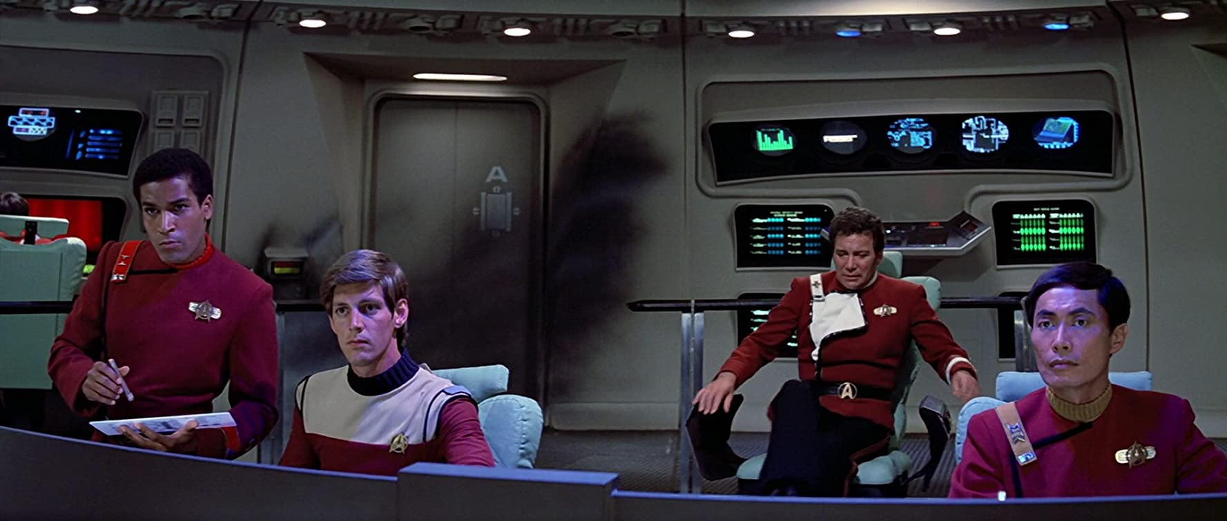 William Shatner, George Takei, and Phil Morris in Star Trek III: The Search for Spock (1984)
