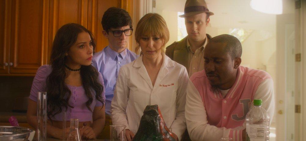 Quinn Beswick, Stephanie Drake, Jessica Parker Kennedy, Josh Margolin, and Chris Redd in Deep Murder (2018)