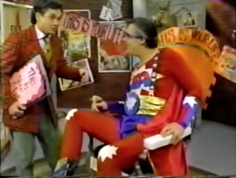 Jim Hendricks and Mark Kraznoff in Commander USA's Groovie Movies (1985)
