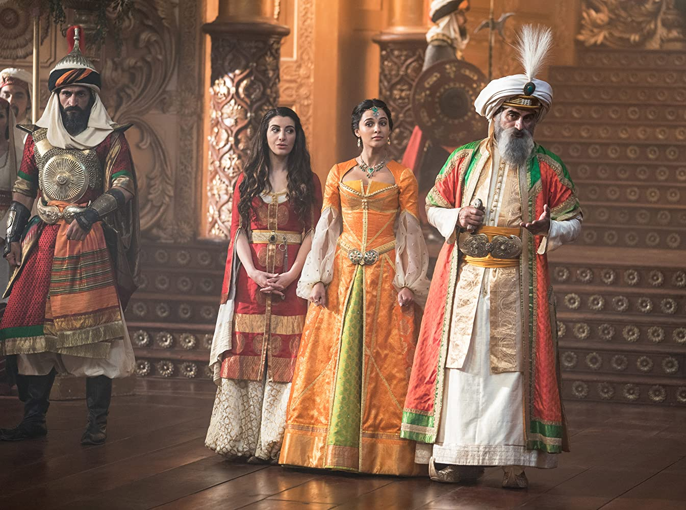 Navid Negahban, Numan Acar, Nasim Pedrad, and Naomi Scott in Aladdin (2019)