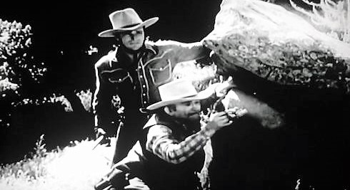 Buster Crabbe and Bud Osborne in Overland Riders (1946)