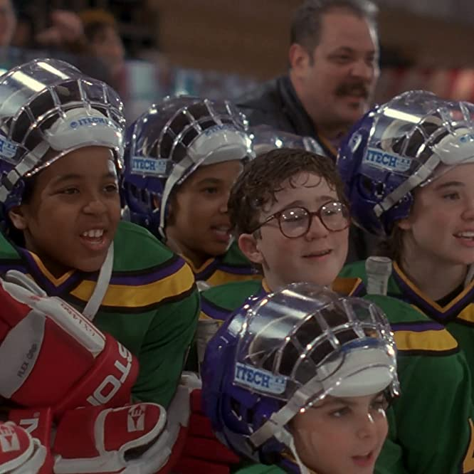 Brandon Quintin Adams, J.D. Daniels, Matt Doherty, M.C. Gainey, Marguerite Moreau, Jane Plank, and Jussie Smollett in The Mighty Ducks (1992)