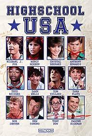 Michael J. Fox, Anthony Edwards, Bob Denver, Crystal Bernard, Todd Bridges, Tony Dow, Dwayne Hickman, Ken Osmond, Dana Plato, Tom Villard, and Dawn Wells in High School U.S.A. (1983)
